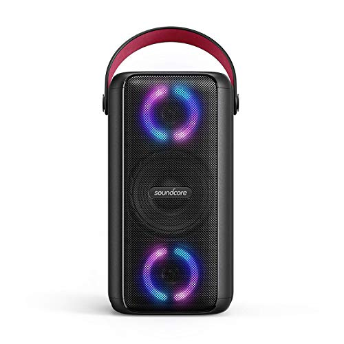 Soundcore Mega Bluetooth Speaker, Party Speaker with 18H Playtime, BassUp Technology, Huge 101dB Sound, LED Lights, App, IPX7 Waterproof, Wireless Speaker with Microphone, Guitar Input