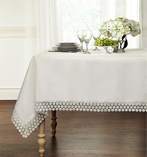 GoodGram Ultra Luxurious Textured Macrame Trim Fabric Tablecloth Assorted Sizes & Colors - White, 60' x 90' Rectangle (6-8 Chair)