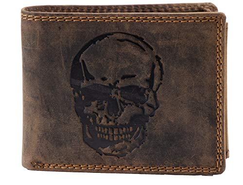 Herren Portemonnaie RFID NFC Schutz Leder ausgefallen Querformat Münzfach Motiv Doppelnaht Geldbörse Echtleder Vintage Lederbörse Portmonee (Dunkelbraun, Totenkopf)