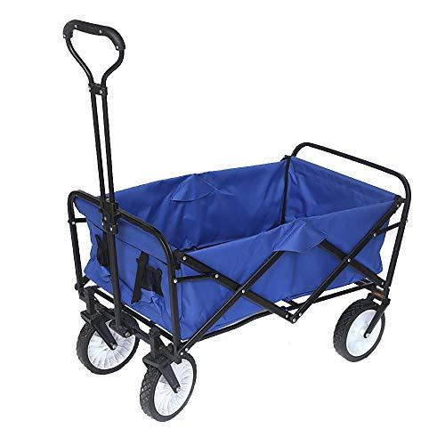 Carro para PíCnic/Carro Portasillas Playa/Transporte para JardíN Carro para/Carro De Compra 4 Ruedas Carga MáXima 50 Kg,Blue