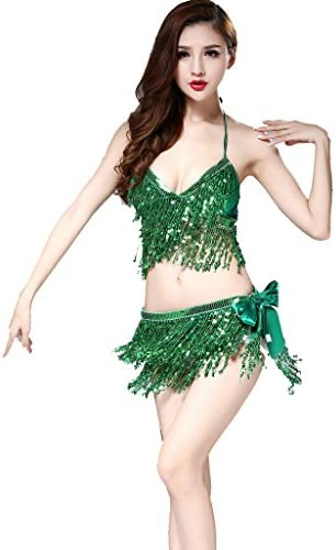 ZLTdream Belly Dance Costume Bra Top with Chest Hip Scarf with Fringe Green product image