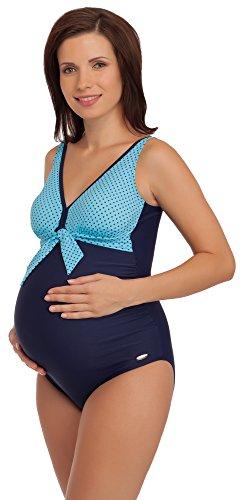 Be Mammy Maillot de Bain 1 Pièce Monokini Vêtement d'Été Maternité Grossesse 91R3SS1 (Bleu Marine/Bleu, EU 38 = FR 40)