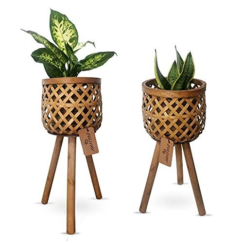 Daytana Bambus Pflanzenständer mit Holz-Beinen im 2er Set | Blumenständer aus Hochwertigem Material | Blumentopf Blumenhocker 2 in 1 Deko Wohnzimmer | Blumensäule für Pflanzentopf | Vase | Garten