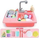Per ragazzi ragazze all'aperto bambini simulazione simulazione rubinetto utensili da cucina acqua lavastoviglie tableware pretend tool giocattolo educativo rosso, colore Nome: rosso (colore: blu) (col