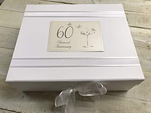 White Cotton Cards Grande boîte souvenir Diamond Anniversary Motif flûtes à champagne