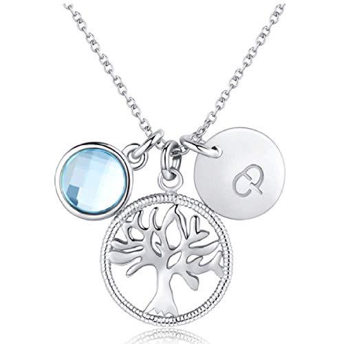 N/H Collar de plata925 Plata de Ley Mujer Collares con Colgantes Diamante Cristal Árbol de la Vida Gargantillas Regalo para Damas Joyas Chica