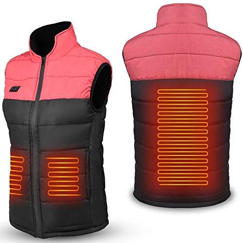 Gilet Chauffant pour Homme et Femme avec Port USB Chauffant Veste Chaude d'hiver en Randonnée Camping Ski et Chasse (Color : Pink, Size : M)