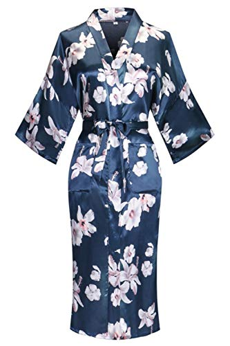 Old-to-new Women's Long Kimono Robe Silk Bathrobe with Pockets-Multi-Pattern,Pagoda Floral Lily S