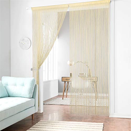 Taiyuhomes Dense String Curtain Fringe String Door Curtain Panels Room Divider Fly Screen for Living Room (39x79,Champagne