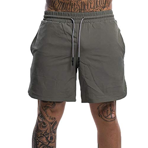 Pantalones Cortos Deportivos para Hombre, clásico, Color sólido, Cintura elástica, cordón, Secado rápido, Entrenamiento de Baloncesto, Pantalones Sueltos para Correr M