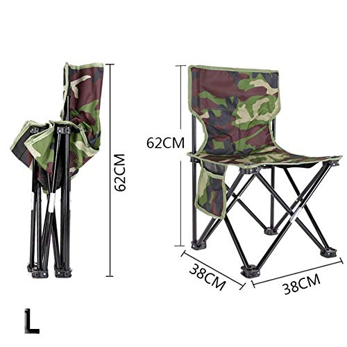 Bureze Chaise de pêche portable et pliable avec motif camouflage