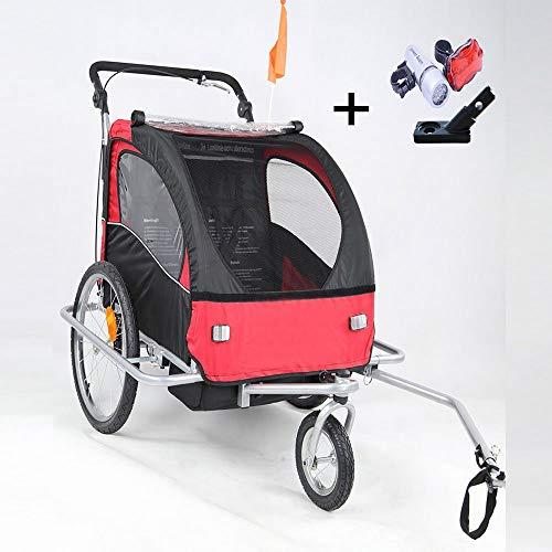 Kinderanhänger 2 in 1 Fahrradanhänger 360° drehbar Jogger für 1-2 Kinder, Kinderfahrradanhänger Radanhänger Transportanhänger Kinderwagen mit Kupplung & Beleuchtung (Rot-Schwarz)