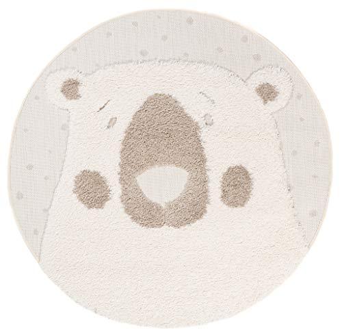 Tapiso Animal Teppich Kinderteppich Kurzflor Rund Spielmatte Creme Beige Eisbär Bär Teddy Kinderzimmer 3D Optik ÖKOTEX 120 x 120 cm