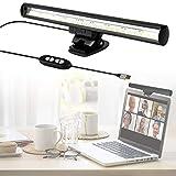 YOMERA Laptop Monitor Lampada per PC Portatile, Lampada USB per PC, Lampada LED Scrivania per Ufficio in Casa con Luminosità Regolabile/3 Temperature Colore/Risparmio di Spazio/Funzione Memoria