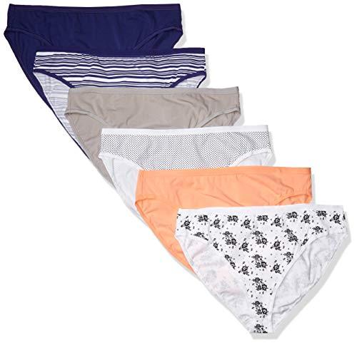 Amazon Essentials Paquete de 6 Bragas de algodón elástico para Bikini de Talla Grande Underwear, surtida, 1X Plus