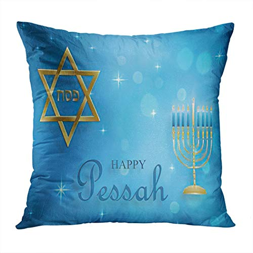 Hanukkah Throw Pillow Cover,Happy Pessah The Passover Holiday Nice and Creative Jewish Symbols,Cushion Cases Shams for Indoor Outdoor Home Decor Living Room Bedroom Office Cotton Pillowcase