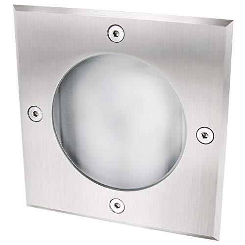 SLV GX53 - Faretto da incasso per pavimento, rettangolare, portata fino a 2000 kg, grado di impermeabilità IP65, alloggiamento in alluminio, copertura in acciaio INOX, copertura in vetro opaco