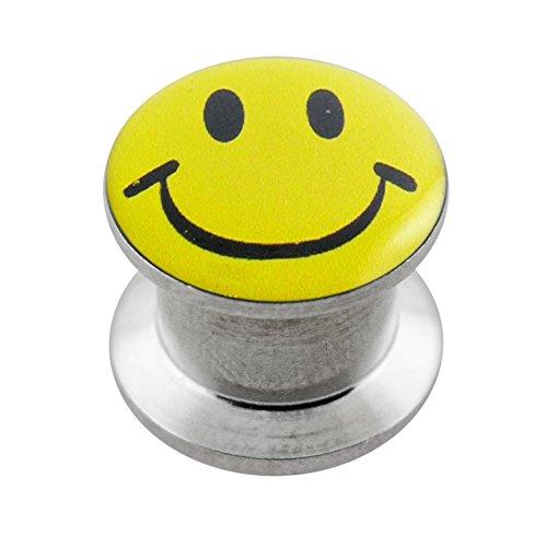 Smiley gezicht logo 316L chirurgisch staal intern schroefdraad gaas vlees tunnel oor piercing