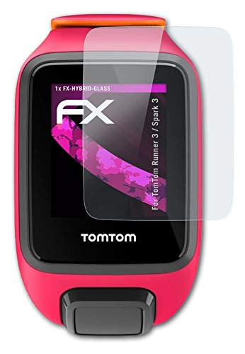 atFoliX Glasfolie kompatibel mit Tomtom Runner 3 / Spark 3 Panzerfolie, 9H Hybrid-Glass FX Schutzpanzer Folie