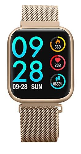 XWZ Reloj Inteligente Reloj De Pulsera Rastreador De Actividad Física Imagen Personalizada Impermeable Banda De Fitness Recordatorio De Llamada Deporte Pulsera Inteligente,Oro