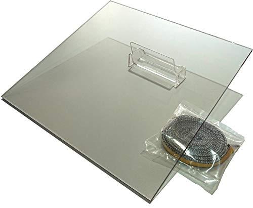 Ersatz Scheibe Kaminglas SCHOTT® Ofenscheibe | Stärke 5mm | hitzebeständiges Keramikglas bis 800°C | Set mit Scheibendichtung | 320mm x 320 mm