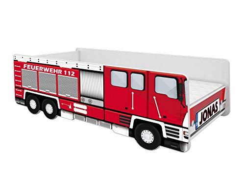 ACMA Kinderbett Auto-Bett Feuerwehr mit Rausfallschutz, Lattenrost und Matratze (140x70 + Name)