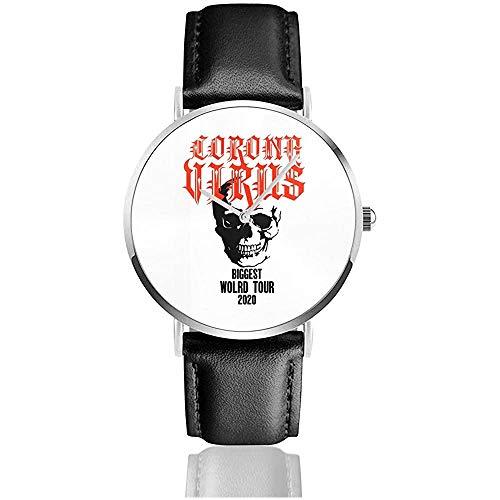 Coron-Avirus Biggest World Tour 2020 Reloj con Correa de Cuero Reloj Casual de Cuarzo de Acero Inoxidable