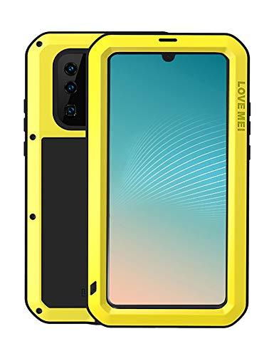 FONREST Completo Funda para Huawei P30 Pro, Love Mei 6,47-Pulgada Antichoque Al Aire Libre Híbrido Aluminio Metal Antipolvo Carcasas con Vidrio Templado, Soporte de Carga inalámbrica (Amarillo)