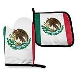 Juegos de Manoplas para Horno y Soportes para ollas, Bandera de poliéster Impermeable de México, Superficie Antideslizante Resistente al Calor para Cocina