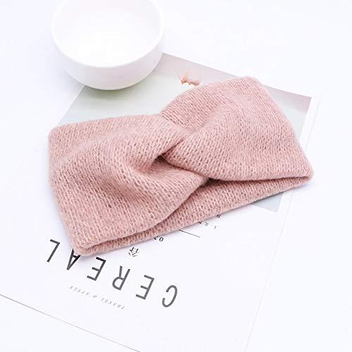 Cinta elástica para el pelo con diseño de cruz de lana y nudo cruzado, para mujeres y niñas, color rosa
