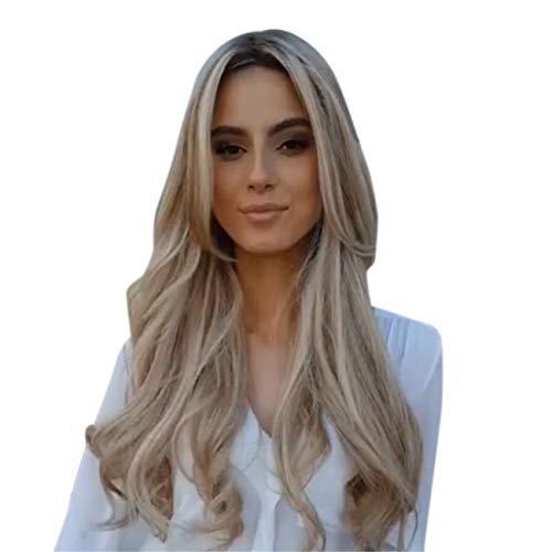 Parrucche Donna Elegante Capelli Veri Lunghi Ricci Naturali Biondi Wig Per Feste Cosplay Party Daily Life Partito (oro)