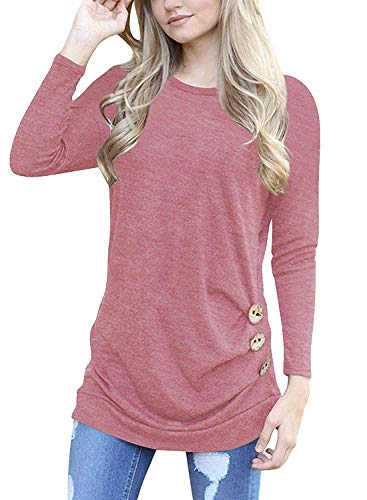 I2CRAZY Women's Casual Long Sleeve Round Neck Tunic Tops Loose T Shirt Blouses (X-Large, 003Pink)