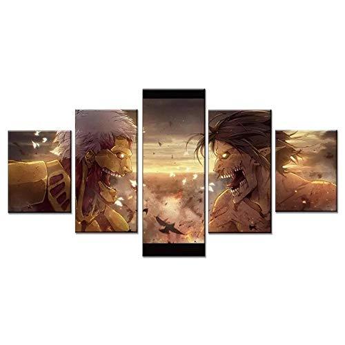 WANGZUO Cuadros Decoracion Salon 5 Panel Attack On Titan Battle Pintura De La Pared La ImpresióN De La Imagen DecoracióN Moderna del Ministerio del Interior-150x80CM