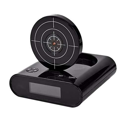 FLAMEER LED Digitaler Wecker Gadget Digitalwecker Zielwecker mit Zielscheibe und Infrarot Pistole Geschenk - Schwarz
