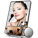 COSMIRROR Lighted Makeup Mirror with Phone Holder, Makeup Vanity Mirror with 20 LED Lights and 10X Magnifying Mirror, Touch Sensor, Dual Power Supply, Hanging Wall Mount Light Up Mirror (Black)