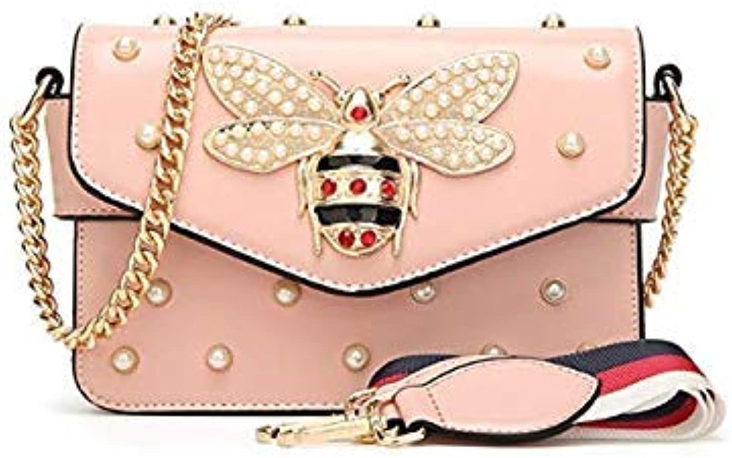 Bloomerang Fashion Women Bags New Design Girls' Shoulder Bags Star with The Same Ring Saddle Bag Quality PU Leather Lady Chain Handbags 6z color Pink