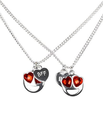 SIX 2er Set Damen Halskette Herz Emoji BFF Silber (758-102)