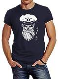 Neverless Herren T-Shirt Totenkopf Kapitän Captain Skull Bard Hipster Original Spirit Seemann Slim Fit Navy L