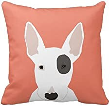 Bull Terrier Cute Terrier Dog Black and White Dog Throw Pillow Cover 16 x 16 Inches