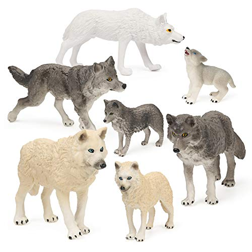 RESTCLOUD 7Pcs Wolf Toy Figurines Set Wolf Animals Figures (Wolf Set B)