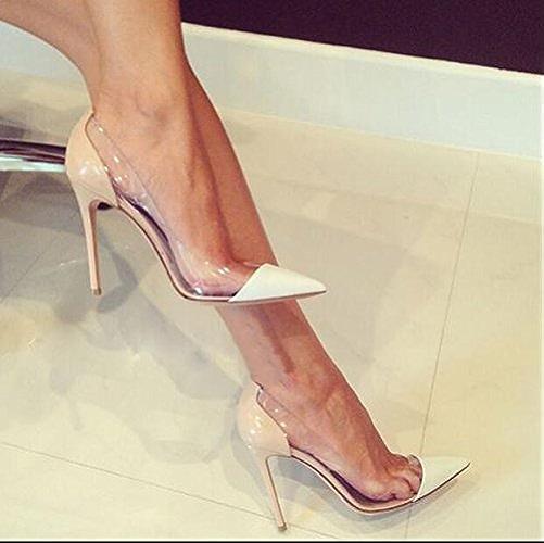 Xue Qiqi Escarpins Chaussures à Talons Hauts Chaussures à Talons Chaussures Plates Mme Transparentes Chaussures à Talons, 34, Couleur Nue Blanc 8CM