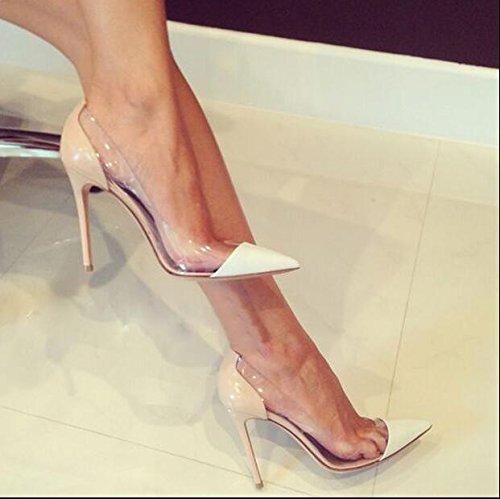 Xue Qiqi Court Schuhe Schuhe mit hohen Absätzen Schuhe mit hohen Absätzen Stiletto Pumps Transparente Damenschuhe Hochhackige Schuhe, 34, Nude Farbe Weiß 10CM