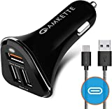 Amkette Power Pro 3 Port USB Car Charger Smart Charging with Quick Charge