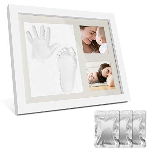 Baby Handabdruck und Fußabdruck, Baby Hand und Fuß Gipsabdruck Abdruckset, Holz Bilderrahmen Fussabdruck Set mit Gipsabdruck - Erinnerungen für die Ewigkeit