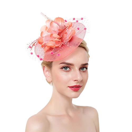 JasmineLi - Cappello da Kentucky Derby, Fascia per Capelli in Rete, Donna, Rosa, L