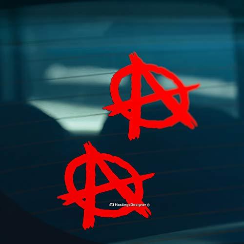 HastingsDesigner 2x ANARCHY Funny Car/Van/Window/Laptop Punk Metal JDM DUB Vinyl Decal Stickers (Red)