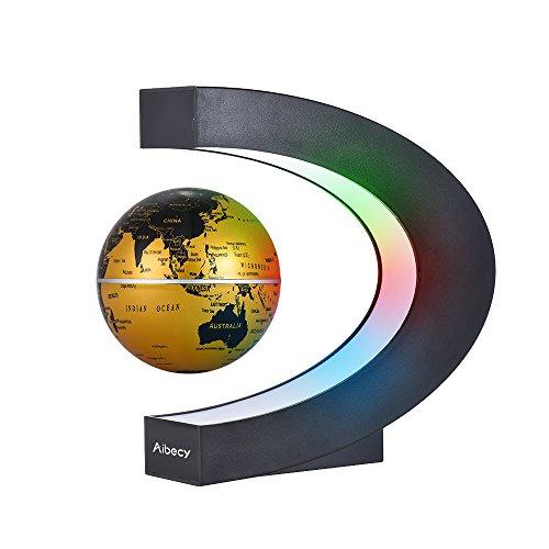 Aibecy C. Mapamundi magnético con levitación. Planisferio. Globo terráqueo con rotación y luces de LED para aprender. Enseñanza, demostración, casa y escritorio. Decoración. Regalo creativo (Oro)