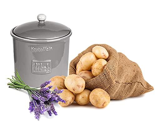 BigDean Kartoffeltopf Toskana Grau Steingut Vorratsdose Kartoffel Vorratsbehälter mit Belüftung 25,5 x 23,5 cm