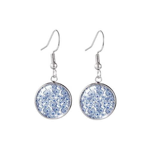 Azul y blanco pendiente de porcelana flor pintura pescado gancho pendientes hechos a mano redondo vidrio cúpula joyería