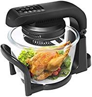 7.4 QT Air Fryer Oven, 9 Mode Glass Air Fryer Toaster Oven with LED Digital Touch Screen, 1200W Oilless Convection Oven...